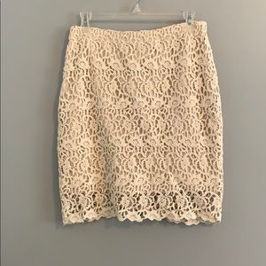 NWOT Cream Eyelet/ lace zippered skirt by Kenar